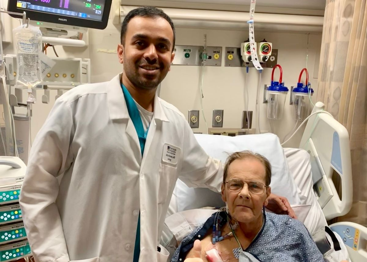 : Seventy-year-old David Quiett from Yucaipa, CA, with his surgeon Aditya S. Bharadwaj