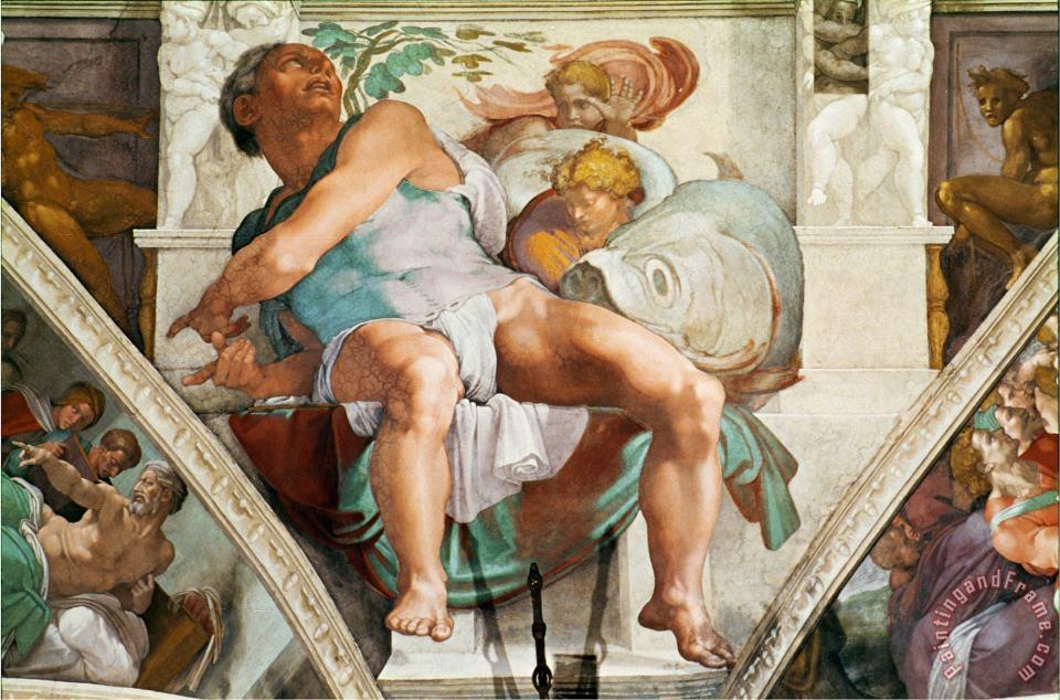 Michelangelo, Prophet Jonah, Sistine Chapel, c. 1542–1545.