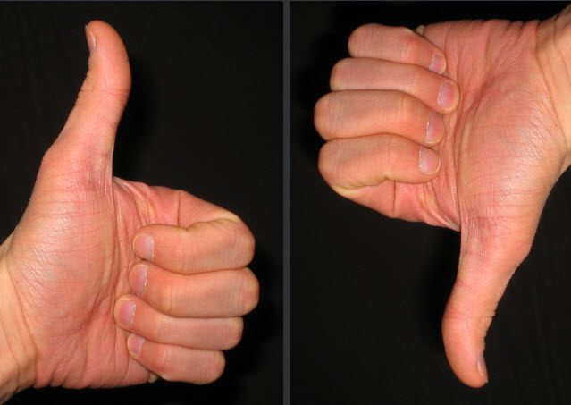 Thumbs up, down